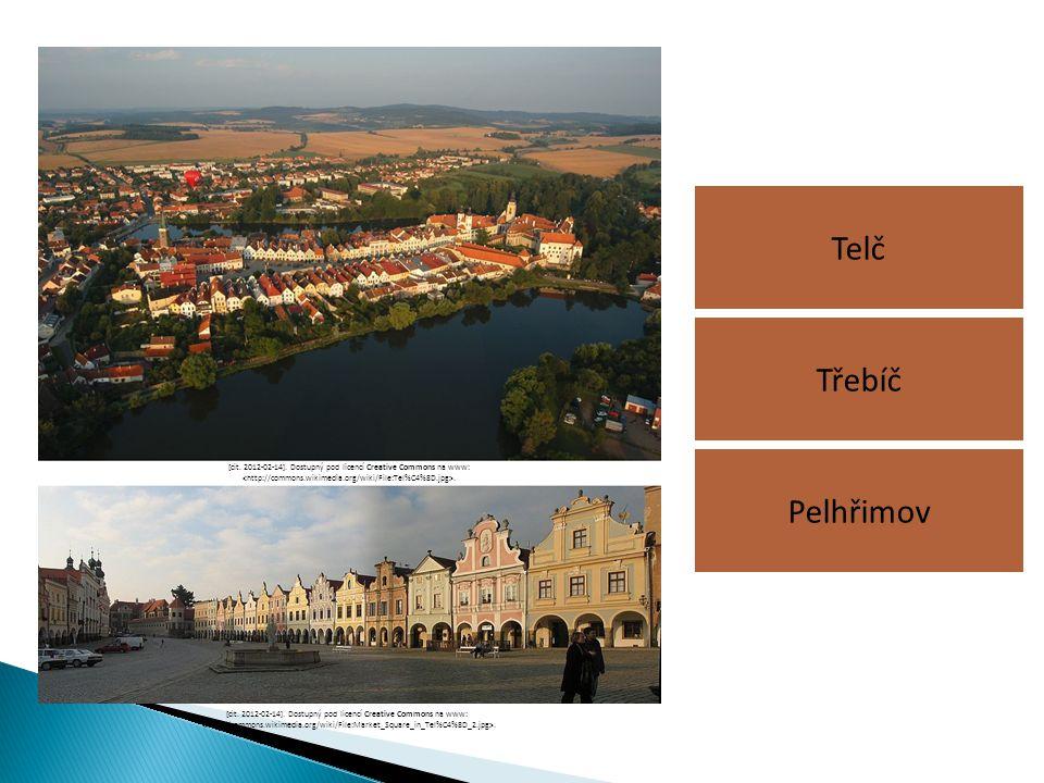 Telč Třebíč. Pelhřimov. [cit. 2012-02-14]. Dostupný pod licencí Creative Commons na www: <http://commons.wikimedia.org/wiki/File:Tel%C4%8D.jpg>.